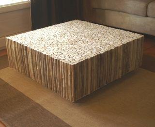 Table basse en bois flott la d co d cod e - Table basse fabrication maison ...